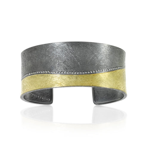 18K Gold & Sterling Silver, White Brilliant Cut Diamonds Cuff