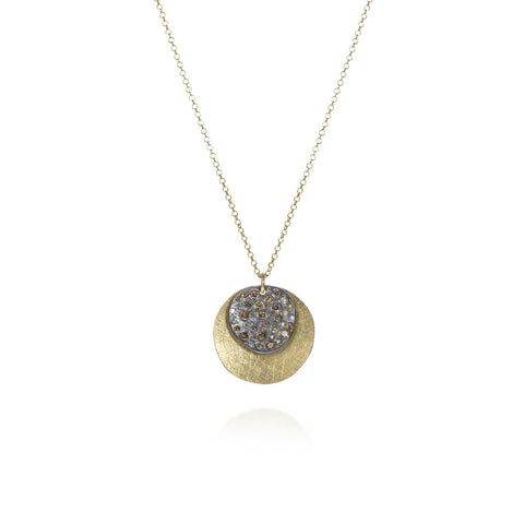 18K Gold & Sterling Silver White & Autumn Diamonds with Raw Diamond Cube Necklace