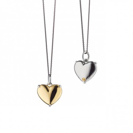 "18K Gold & Sterling Silver Two-Tone Petite ""Heart of Gold"" Charm Necklace"