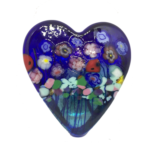 Cobalt Blue & Emerald Heart Paperweight, Small
