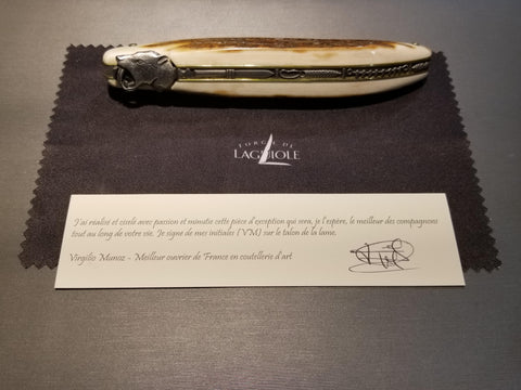 "12cm Mammoth Ivory Handle, Thick Damascus Steel Forged ""Roses"" Blade, Saber Tooth Tiger Head Folding Knife"