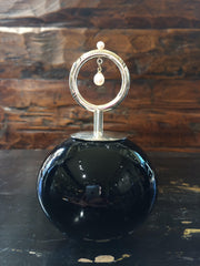 Sterling Silver & 14K White Gold Plate, Pearl, Black Blown Glass Perfume Bottle