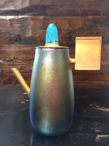 Sterling Silver With 24K Gold Plating, Turquoise, Multi Color Iridescent Vessel
