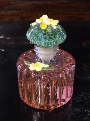 Pink Ribbed Floral Detailed Perfume Bottle