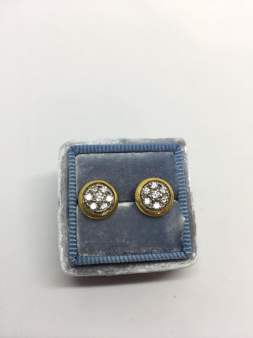 24k Gold & Sterling Silver Diamond Pave Amulet Button Earrings