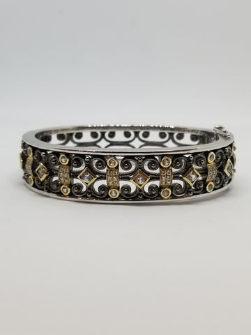 Antiqued Sterling Silver & 18K Gold, Sapphire & Diamond Cuff
