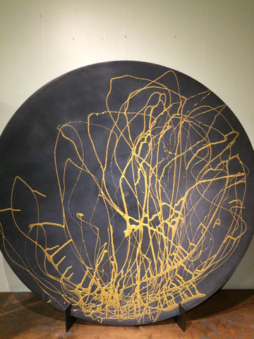 Capilano Steel Charger With Hand Painted Gold Resin Fluid Art Application