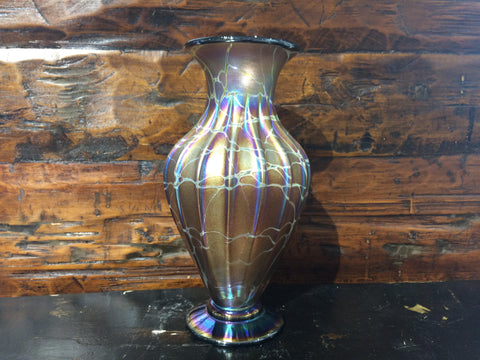 Amber Brown Cobweb Low Vase