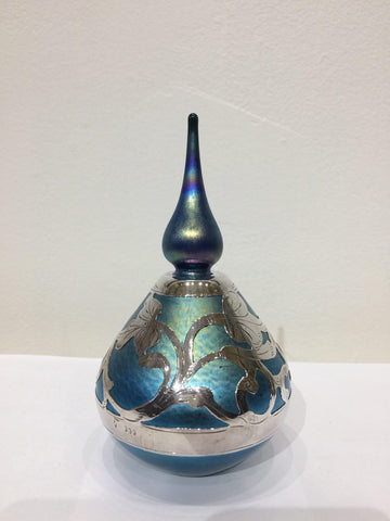 Sterling Silver & Blue Iridescent Blown Glass Perfume Bottle
