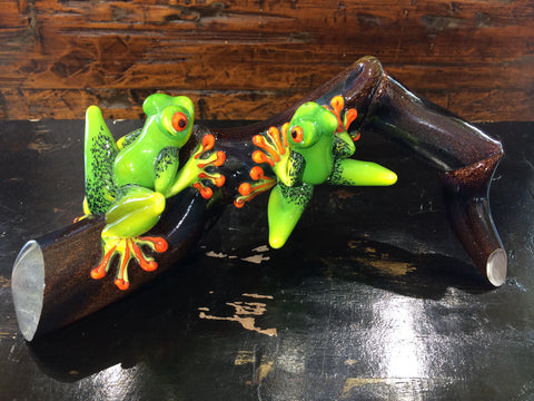 Two Frogs On A Branch