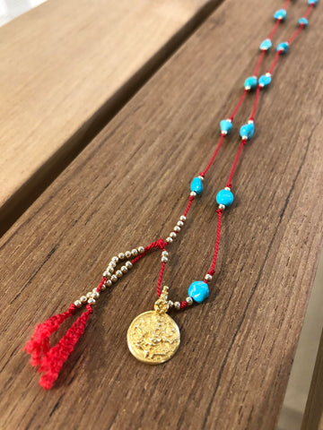 Gold Fill & Vermeil Turquoise Ganesha Protection Thread Necklace