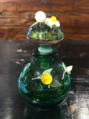 Round Green Floral Perfume Bottle