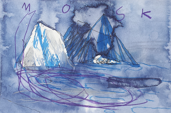 The Moskstraumen Whirlpool - Arctic Swim Sketch