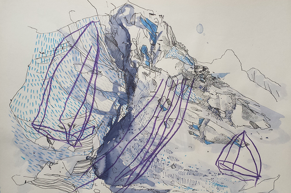 Mountains in the Mist - Arctic Swim Sketch