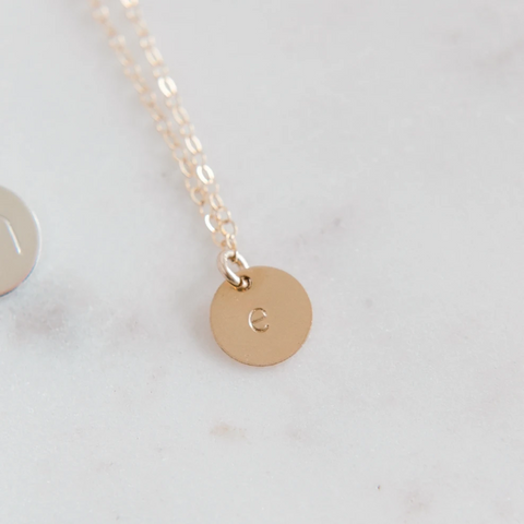 Gold Filled Letter Necklace (9mm Disc)