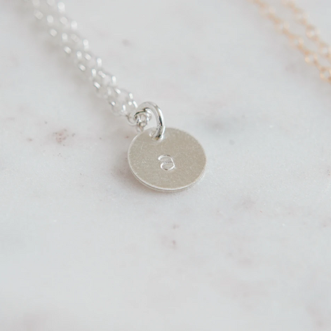 Sterling Silver Stamped Letter Necklace (9mm disc)