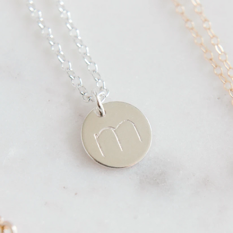 Sterling Silver Stamped Letter Necklace (11mm disc)