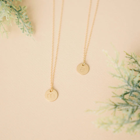 Gold Filled Stamped Letter Necklace (11mm disc)