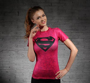 Avengers tights woman fitness Sweat elastic short-sleeved t shirt ! Be your heros now !