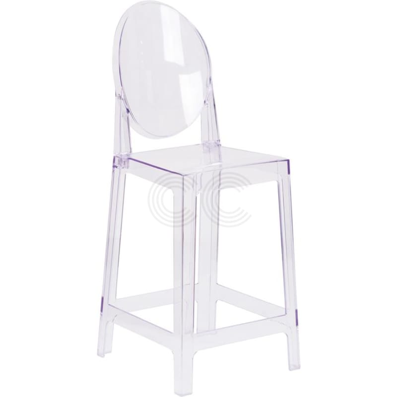 Clear Ghost Series Counter Stool With Oval Back