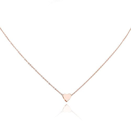 "YUMILY Womens Charm Mini Heart Pendant Necklace 18"" Delicate Cable Chain Necklace - Giftsfiber.com"