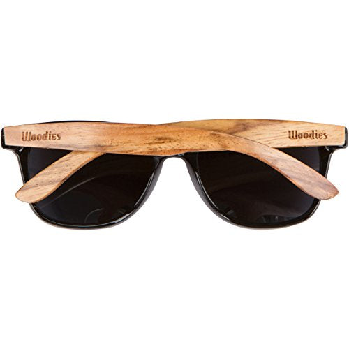 WOODIES Zebra Wood Sunglasses with Black Polarized Lenses - Giftsfiber.com
