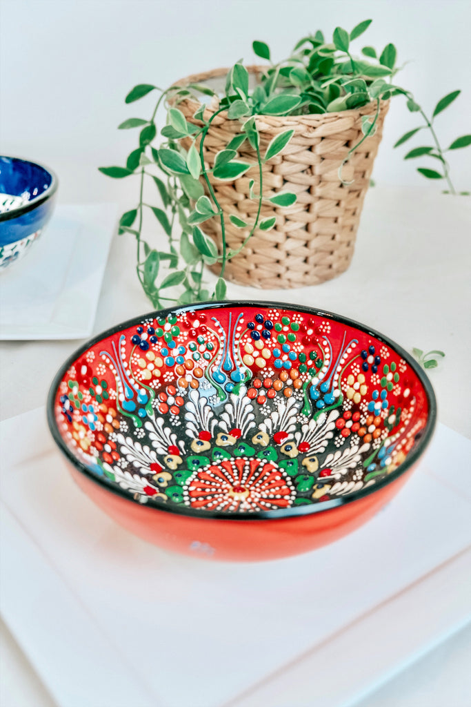 TURKISH BOWL WITH ORANGE MOSAIC FLORALS