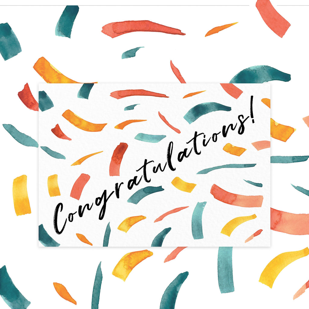 CONGRATULATIONS | WATERCOLOUR CONFETTI CARD