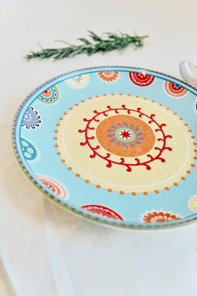 SMALL PAISLEY TURKISH PLATE - BLUE