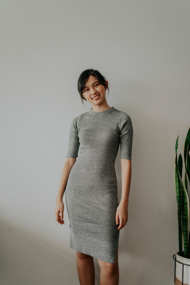 ALEXIS BASIC GREY KNITTED DRESS (BACKORDER)