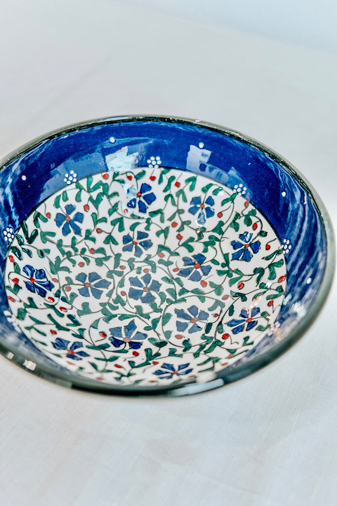 TURKISH BOWL WITH FLORAL PRINT - BLUE