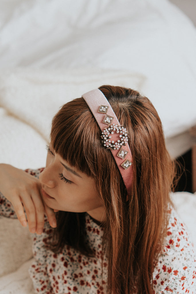 CAESAR EMBELLISHED HAIRBAND - PINK