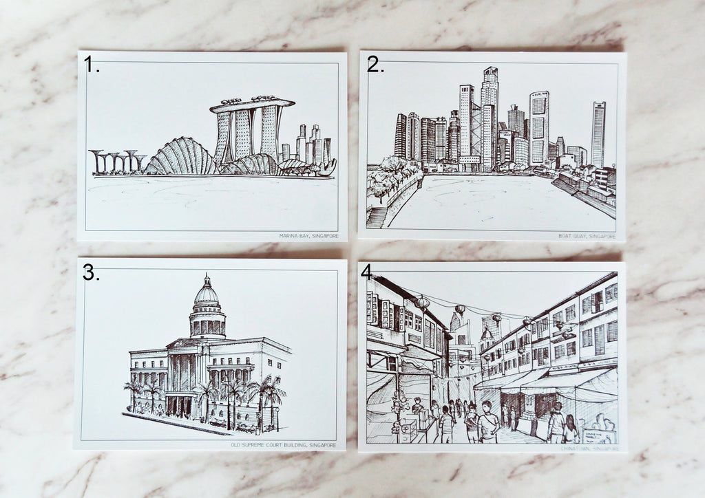 SINGAPORE ON PAPER | B&W POSTCARDS