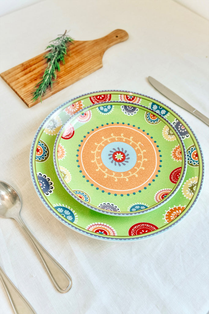 GREEN PAISLEY TURKISH PLATE SET