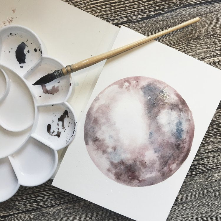 LOVE YOU TO THE MOON | WATERCOLOR CARD
