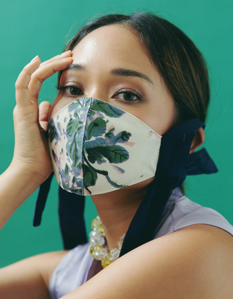 FASHIONABLE FLORAL MASK WITH FILTER SLOT - AUTUMN BLUE