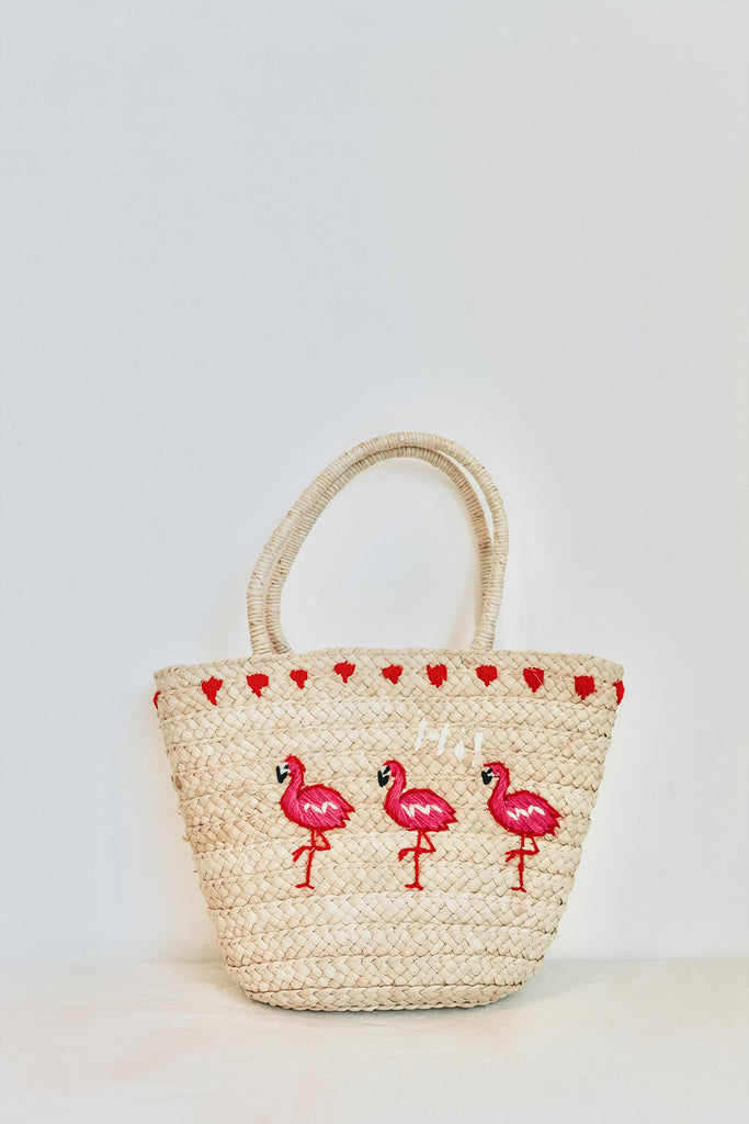 FLAMINGO STRAW TOTE BAG