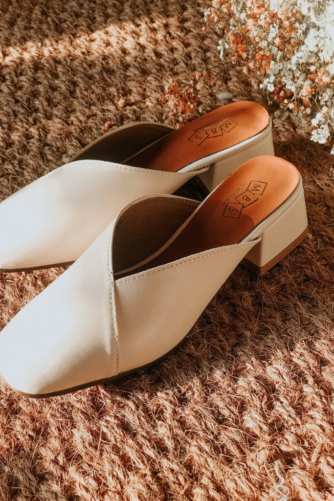 ELISE COVERED SLIP ON MULES  - BEIGE
