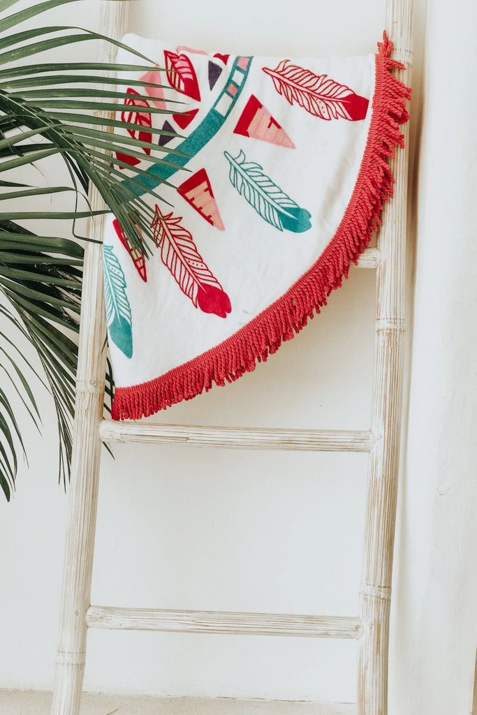 TASSELS BEACH TOWEL - PINK