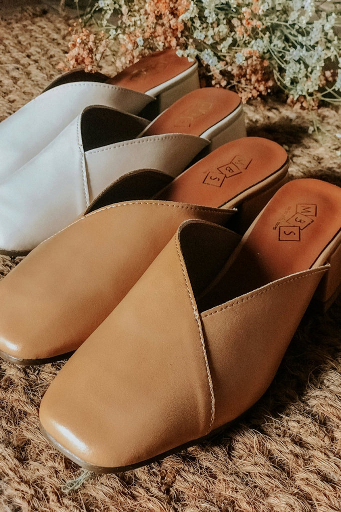 ELISE COVERED SLIP ON MULES - TAN