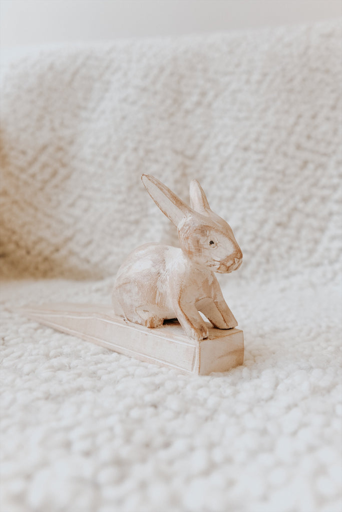 WOODEN RABBIT DOOR STOPPER