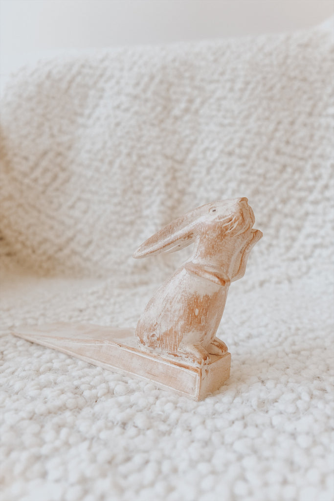 WOODEN STANDING RABBIT DOOR STOPPER