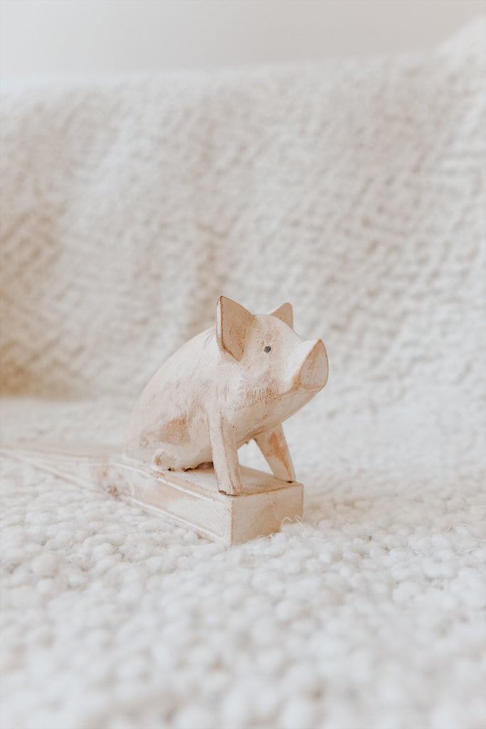 WOODEN PIG DOOR STOPPER
