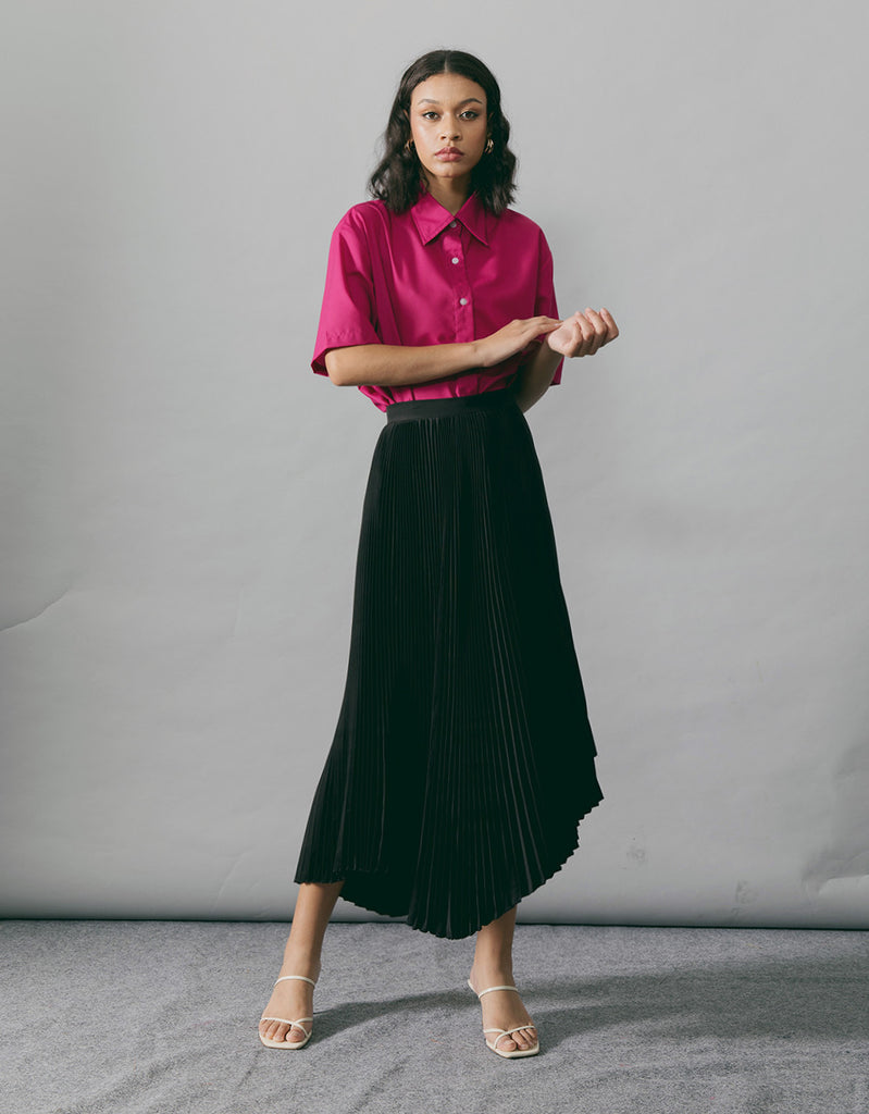MYA BLACK PLEATS SKIRT