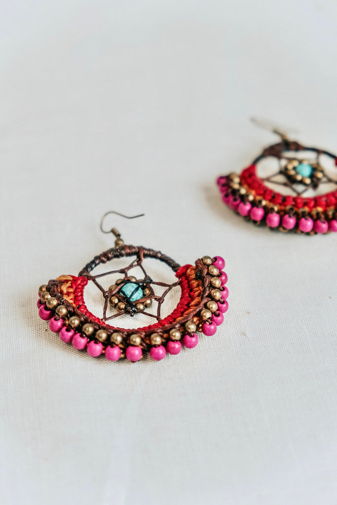 DREAMCATCHER EARRINGS - FUSCHIA