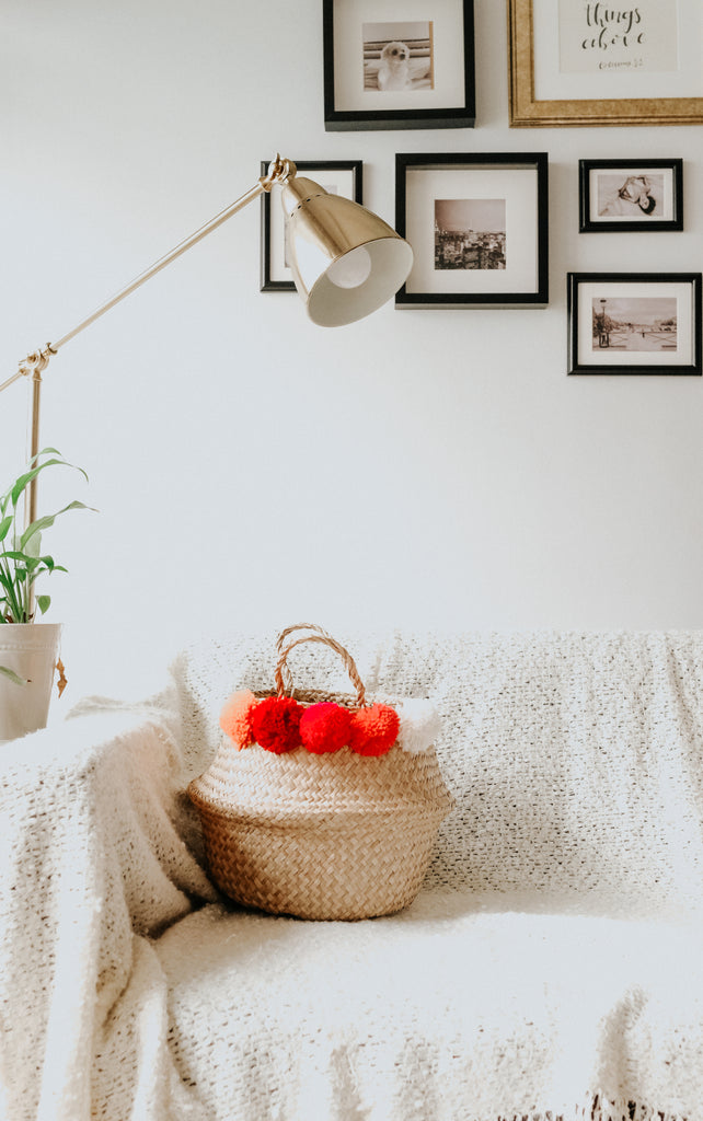 POM POM BASKET | WHITE, ORANGE, RED