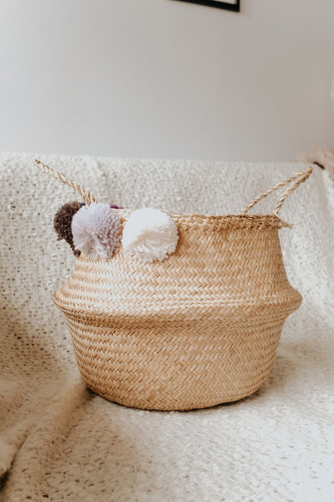 POM POM BASKET | WHITE, GREY, BLACK