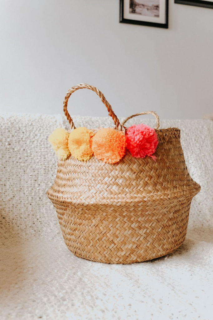 POM POM BASKET | YELLOW, ORANGE, PINK