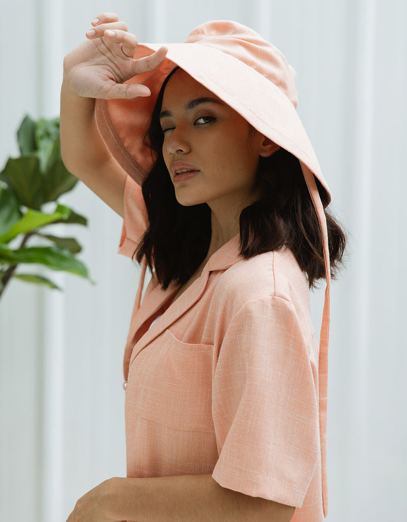 SHIELD LINEN CORAL HAT