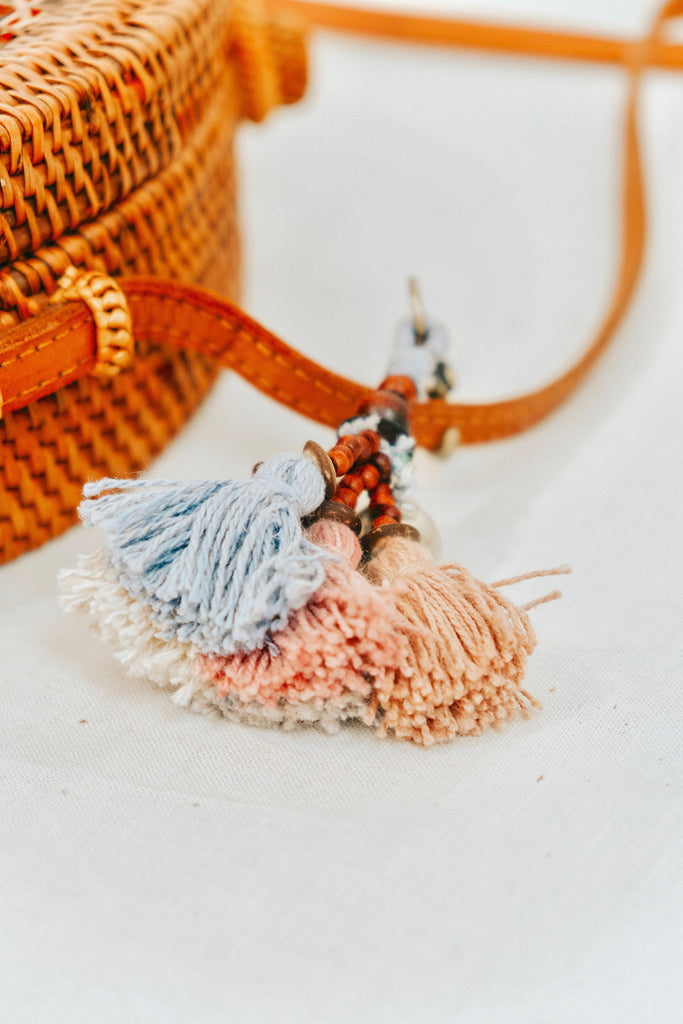 SMALL TASSEL CHARM KEYCHAIN - PASTEL BLUE AND PINK